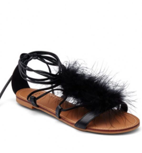 Fluffy strappy flats