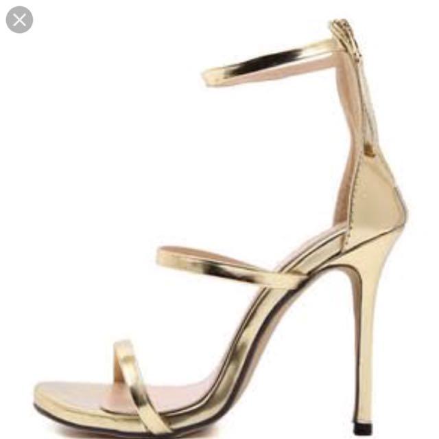 Gold three strap heels women's 7