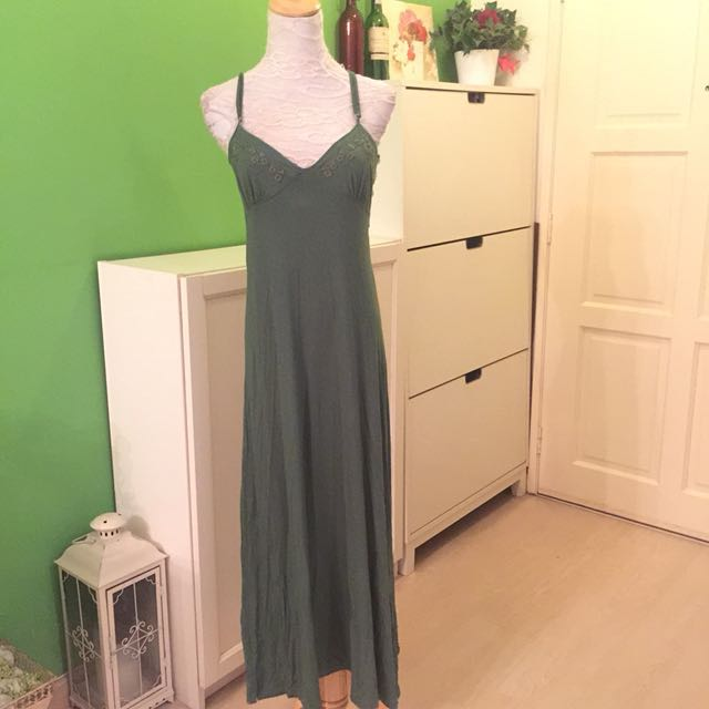 Green Maxi with Embroderie