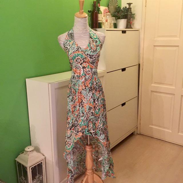 Hi-Low Paisley Print Midi Dress