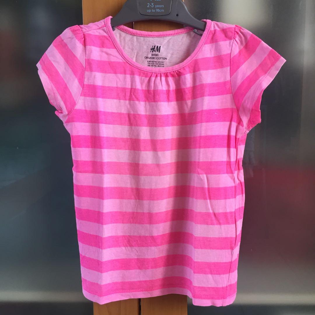 H&M pink stripes basic organic t-shirt