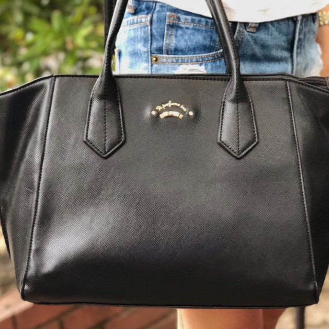 Imported black structured canvas leather