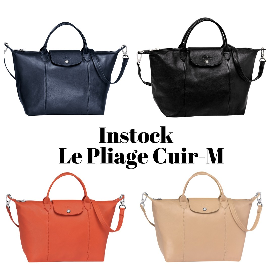 9ee0be138674 Instock Authentic Longchamp Le Pliage Cuir Medium Leather Shoulder ...