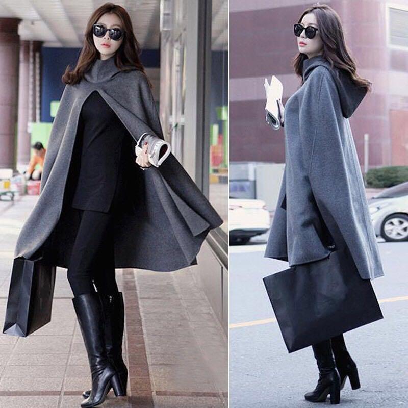 Jaket jubah hoddie abu abu grey jacket winter