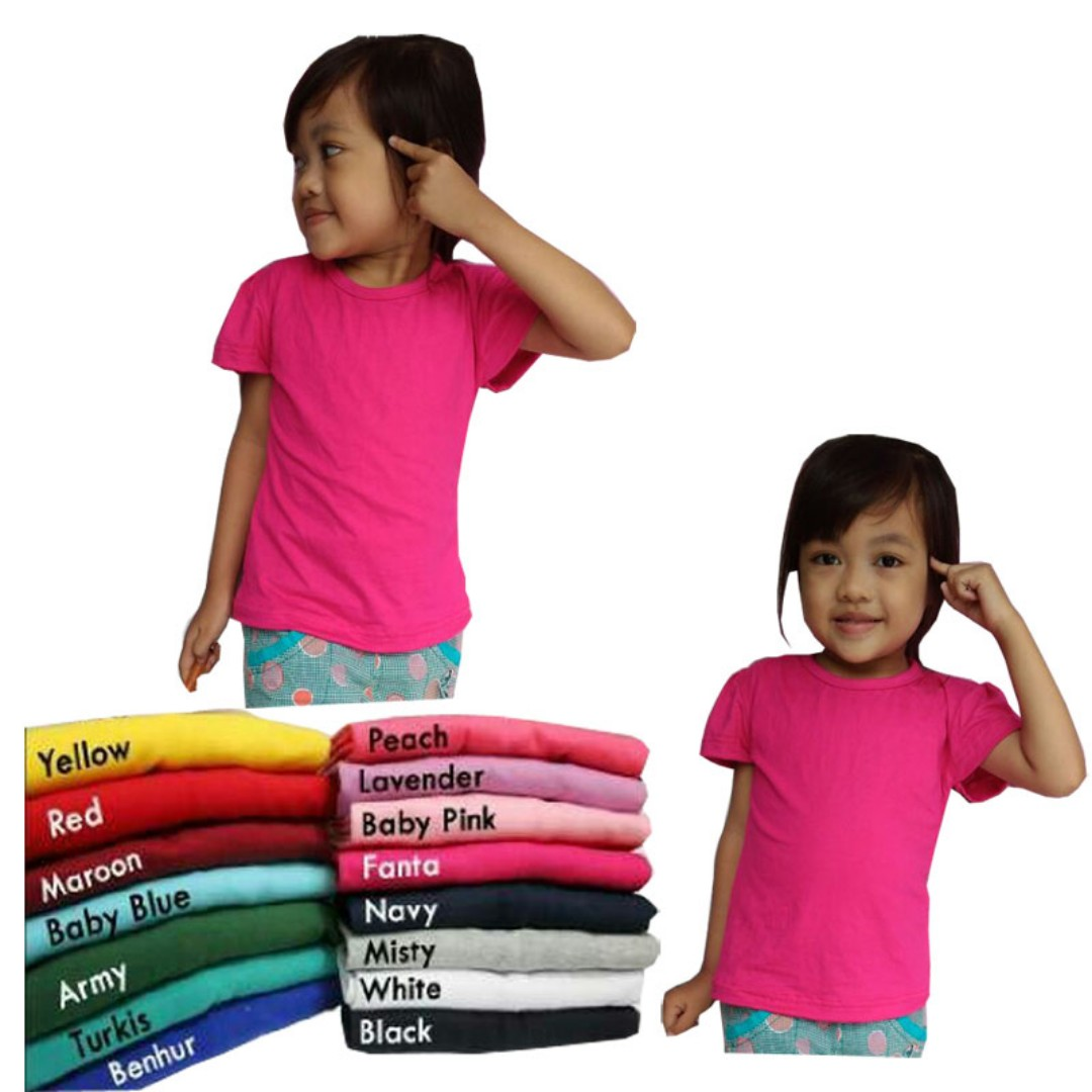 Kaos Polos Anak Perempuan Babies Kids Girls Apparel On Carousell Blue Misty