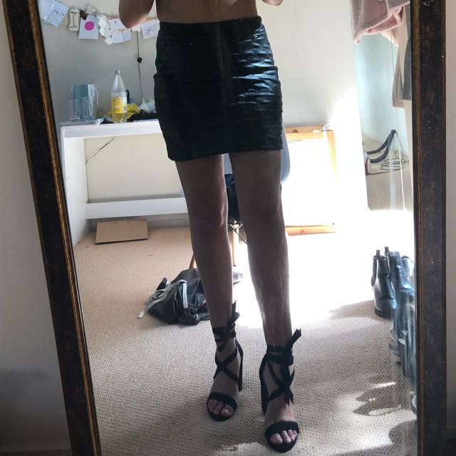 Leather look skirt !! With zips up the top