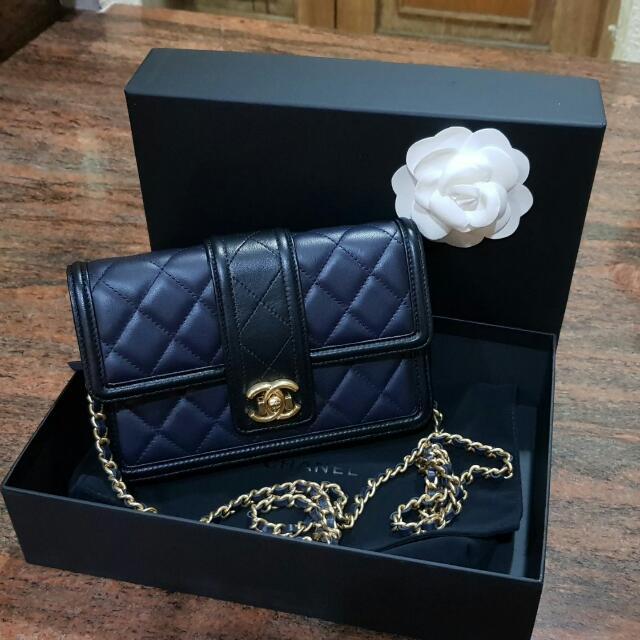 Lnib Chanel Black Navy Ghw#22