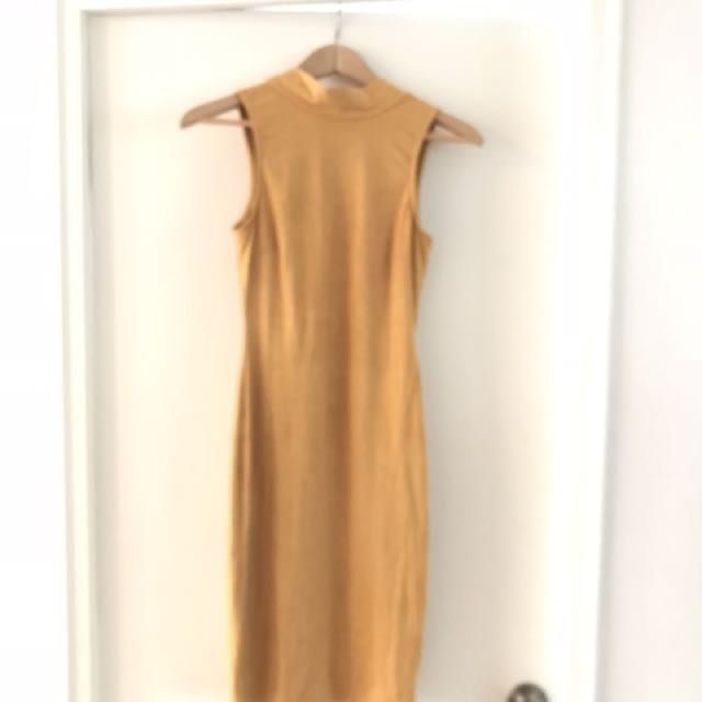 M Boutique yellow suede dress, size S