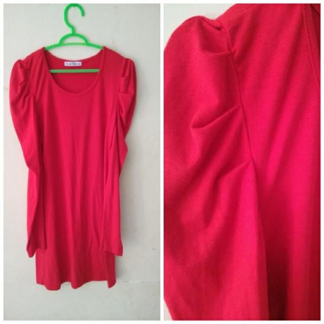 mini dress red blouse lengan panjang