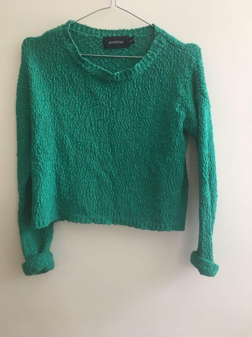 MINKPINK - Green vintage knit jumper
