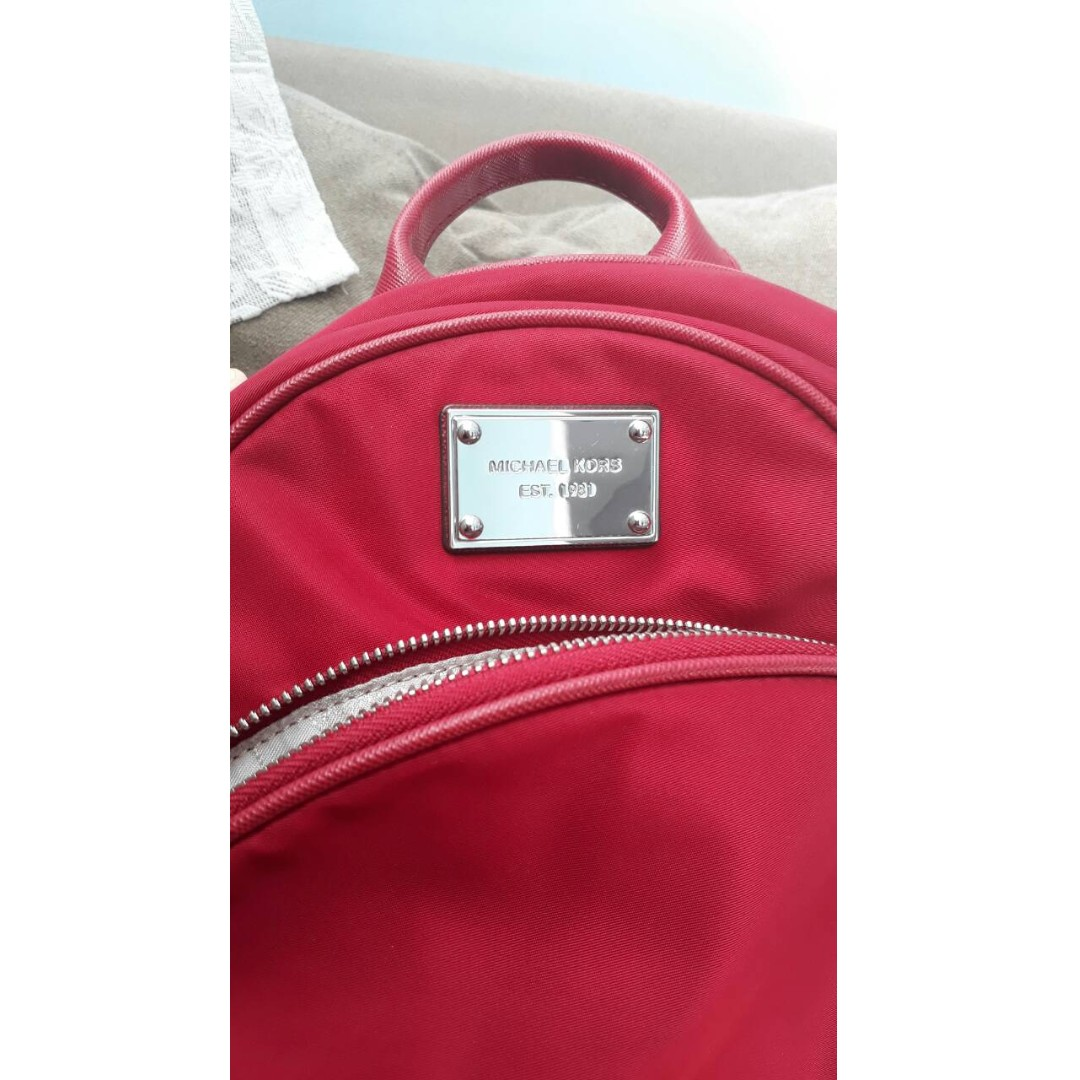 NWT Authentic Michael Kors Small Nylon Backpack 30F4STTB5C Scarlet - bought from Macy's