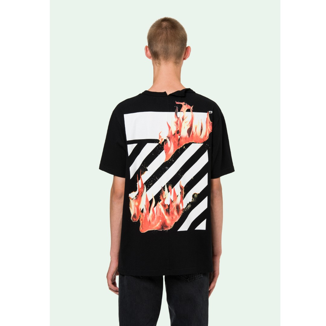 139b4090 Off White 18SS Fire Spliced Tee, Men's Fashion, Clothes on Carousell