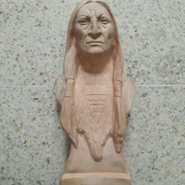 patung kepala Indian keramik made in mexico#drop price