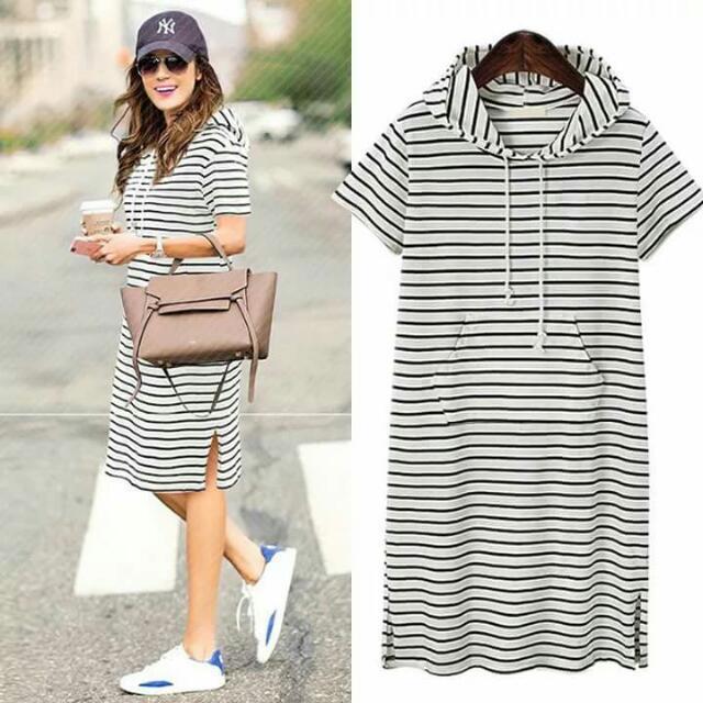 plus size stripe hoody dress