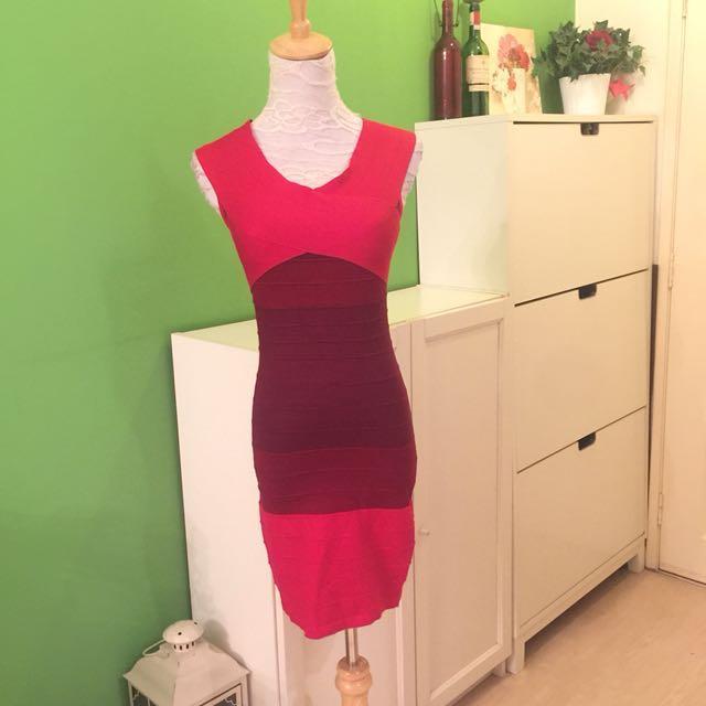 Red Multi Tone Dress