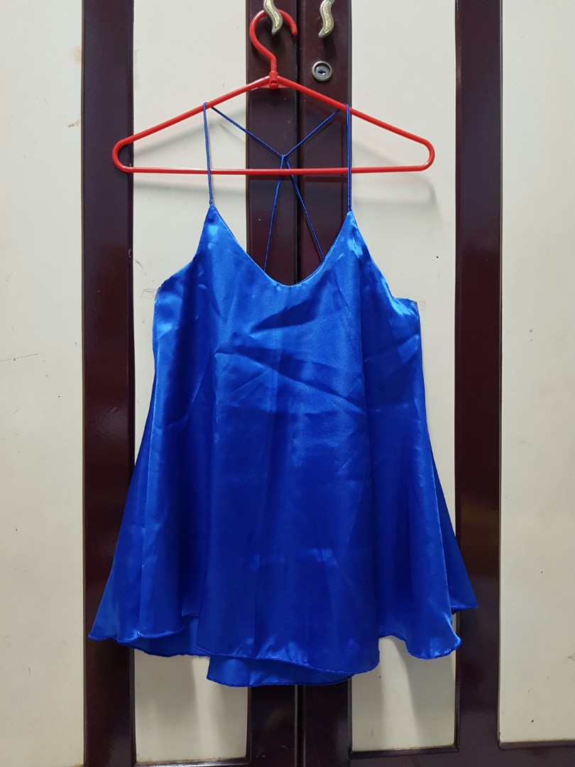 Royal blue flare top