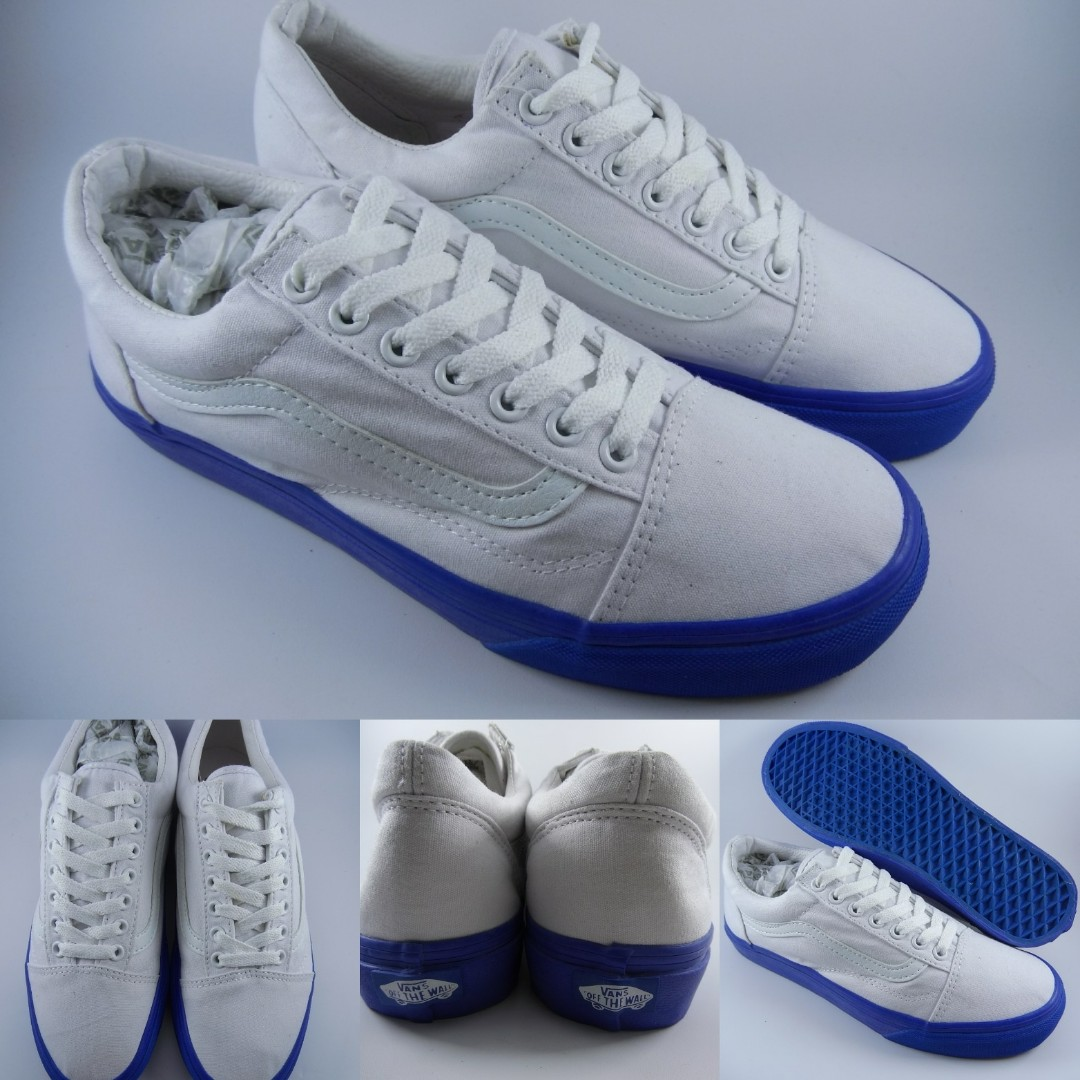 36d38c1b7ddcc4 Sepatu Kets Vans Old Skool Pop Lite Canvas White Sole Blue Putih ...