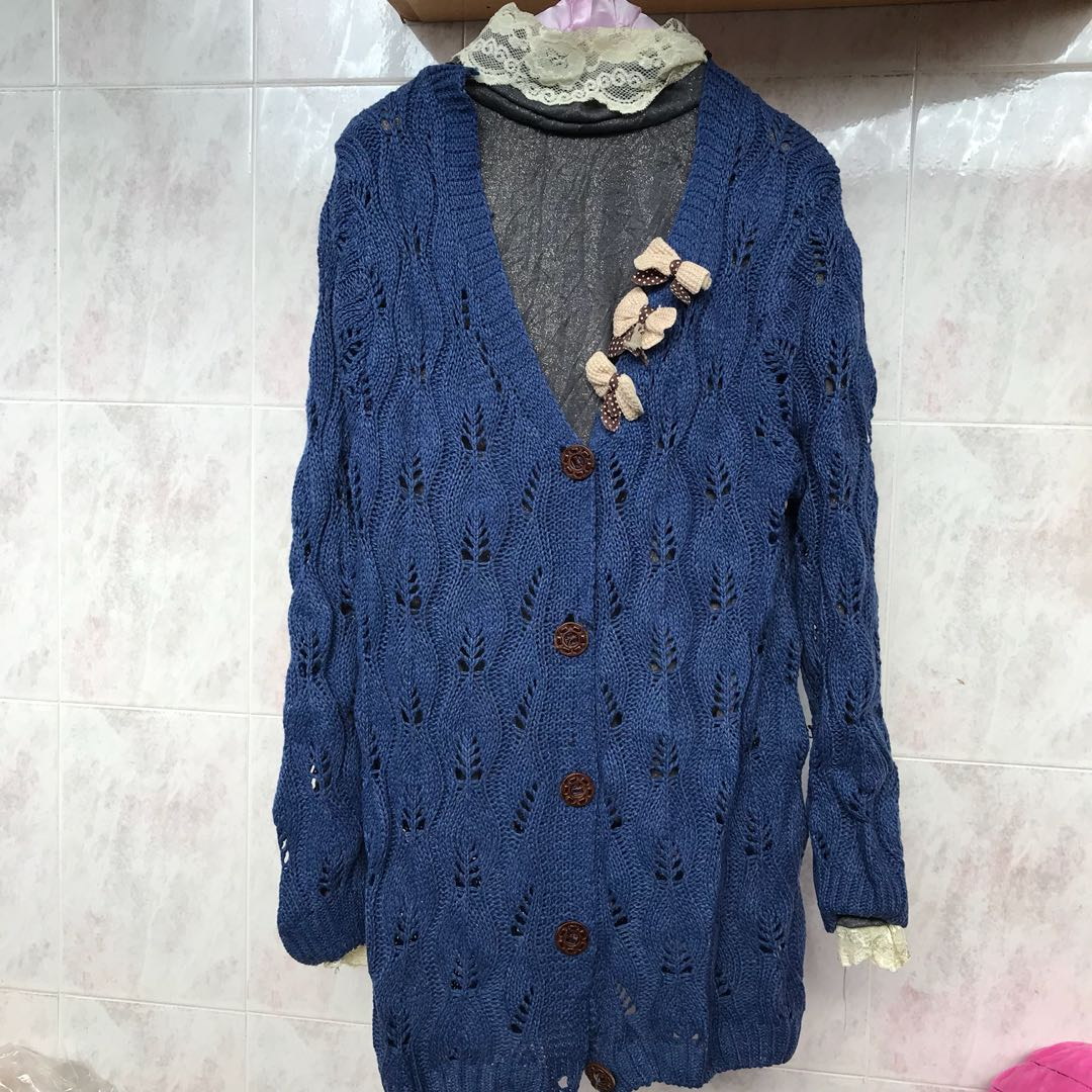 Set knitted Jacket with turtle neck long sleeve