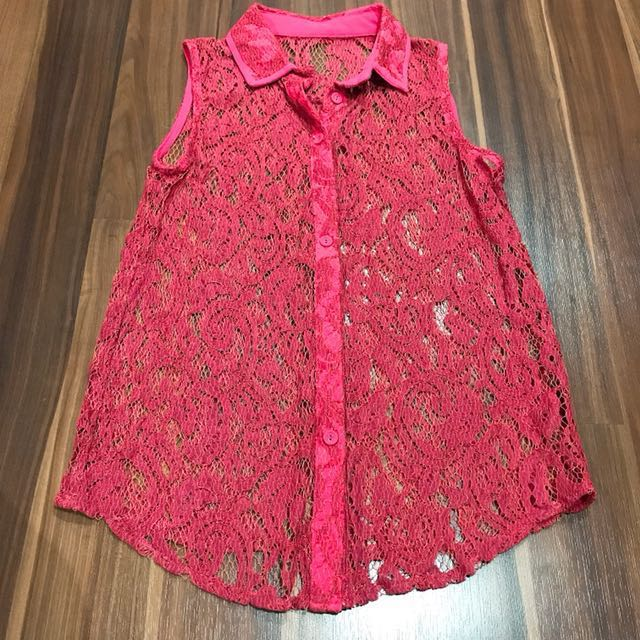Sleeveless Pink Lace Top
