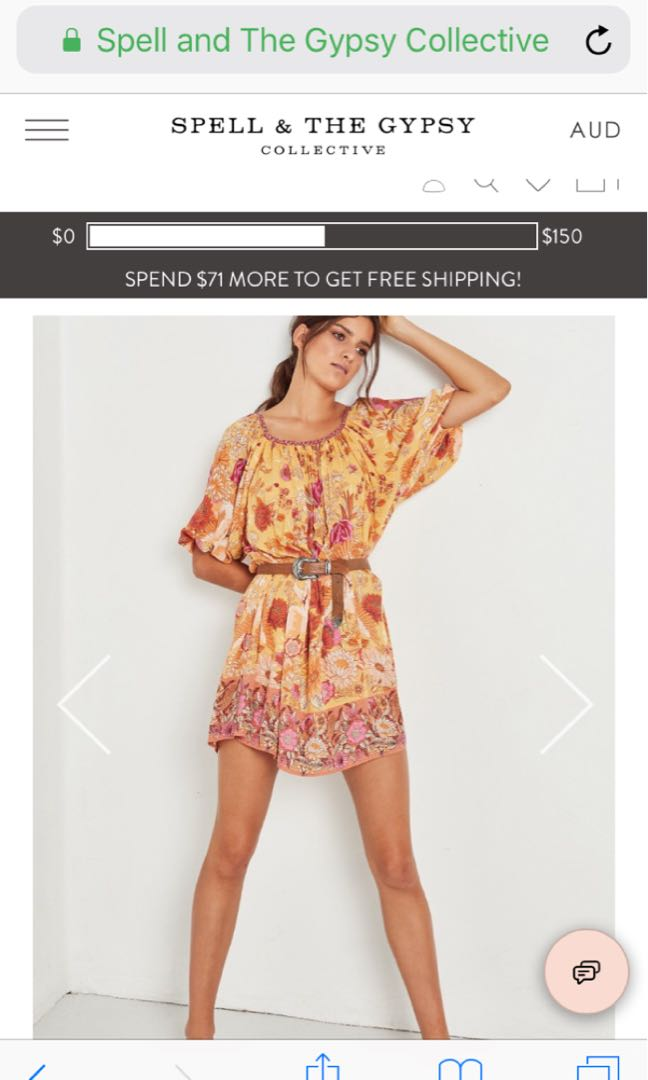 💕Spell Designs Siren Song Smock Dress Xxs 🌿rrp $229