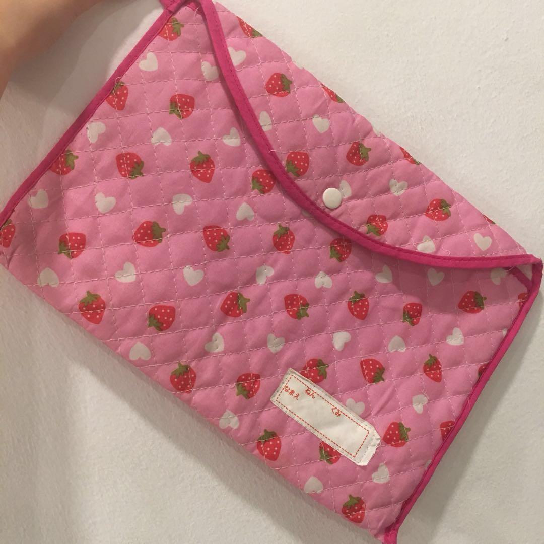 Strawberry Pink Mini Stationery Laptop iPad Case