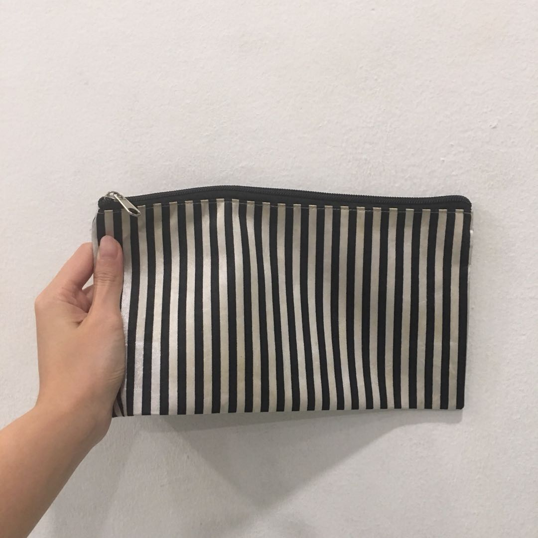 Stripes Travel Cosmetic Pouch / Coin Money Bag
