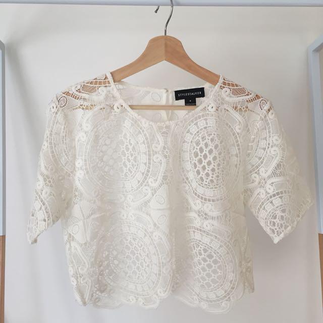 Stylestalker Ivory White Lace Cropped Tee