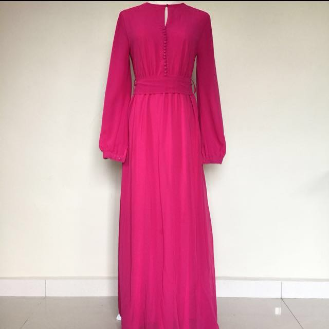 Surisara Pink Long Chiffon Dress