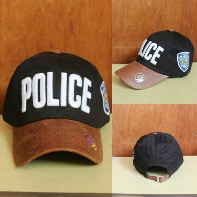 Topi Baseball Police Black, Men's Fashion, Men's Accessories, Caps & Hats on Carousell