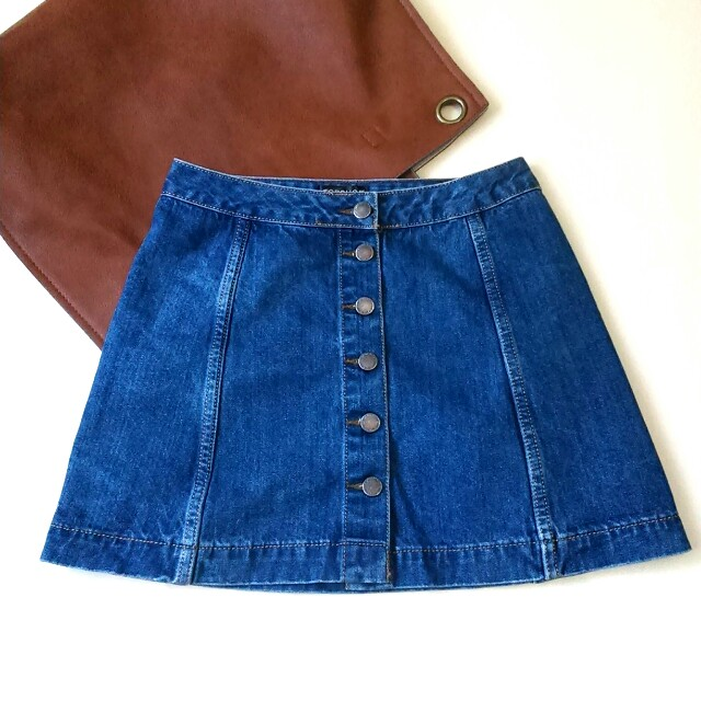 Topshop Moto Denim Button-down Skirt