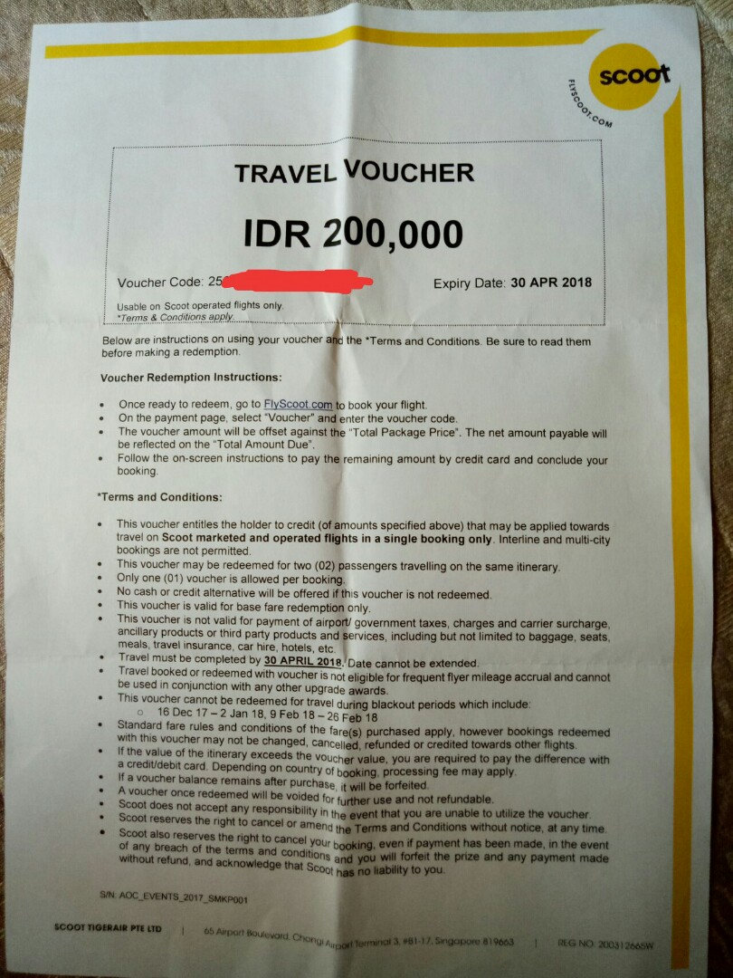Travel voucher Scoot
