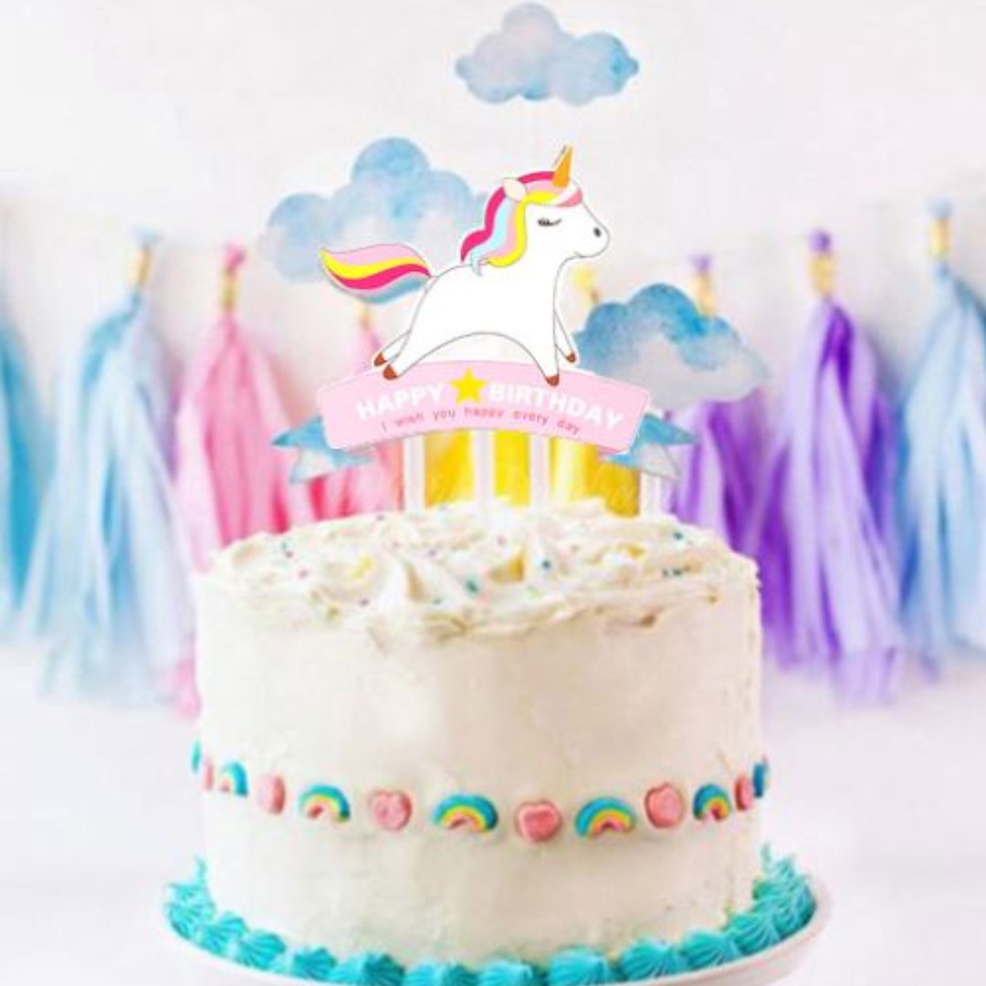 Unicorn Happy Birthday And Clouds Cake Topper Kit Design Craft