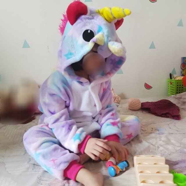 Unicorn Onesie Sleepsuit Rainbow Baju Tidur Anak