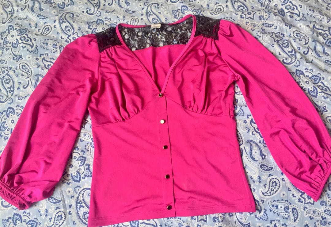 Vibrant Pink Long Sleeve w/ Lace Detail