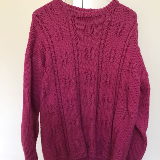Vintage Fuschia Chunky Knit Sweater/Jumper