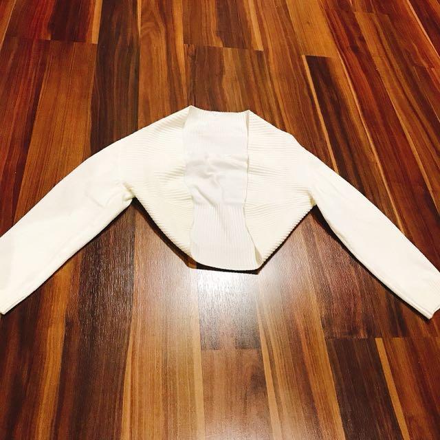 White Crop Cardigan