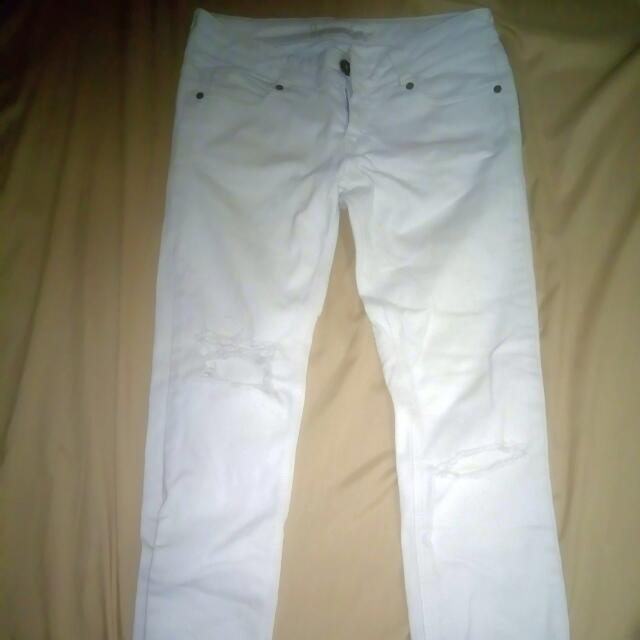 White Torn Jeans For Women