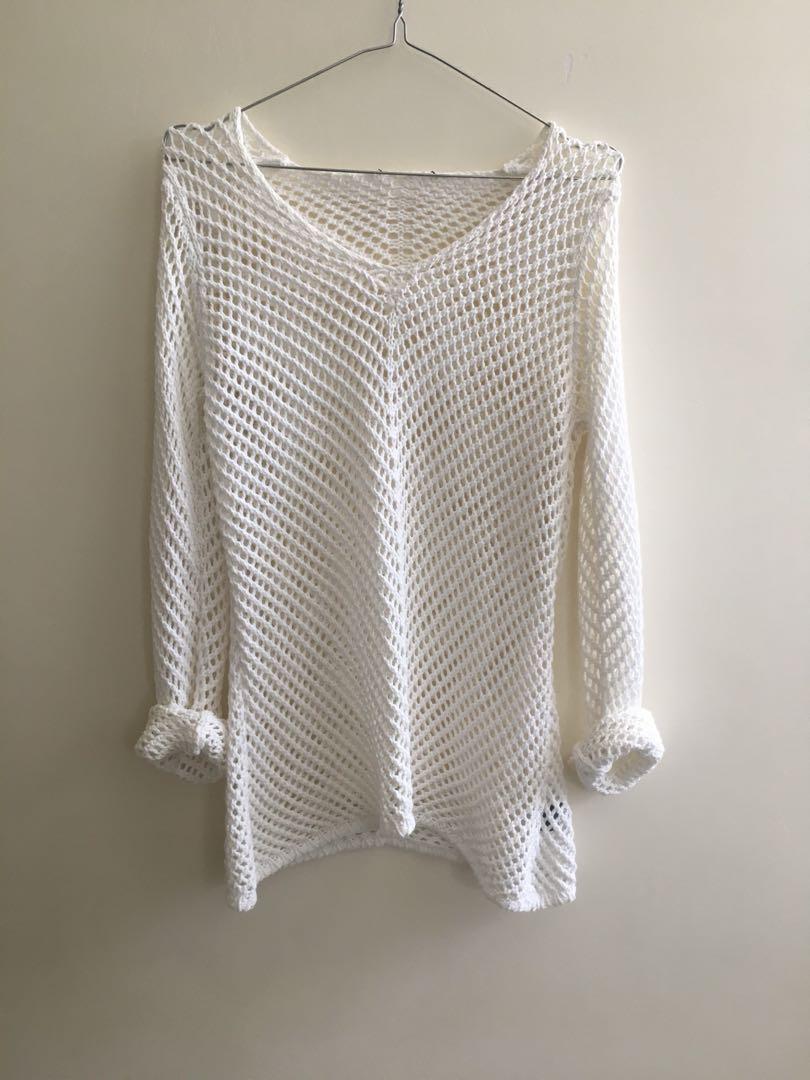 White vintage knit