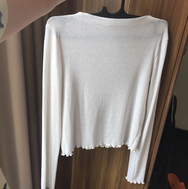 zara trf white long sleeve top high neck