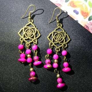 Anting pink berries earings