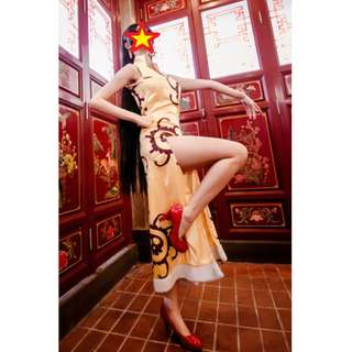 Boa Hancock Yellow Cheongsam Cosplay
