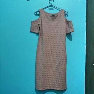 Peach Off-shoulder Dress
