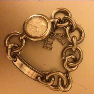 RRP$3000 Emporio Armani silver stainless charm bracelet ladies watch