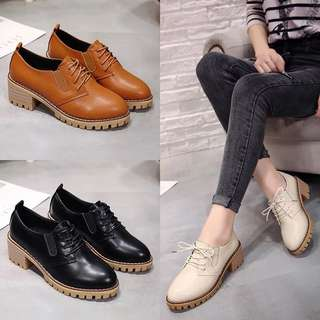 British style small shoes high-heeled shoes female college wind Korean rough with wild round shoes