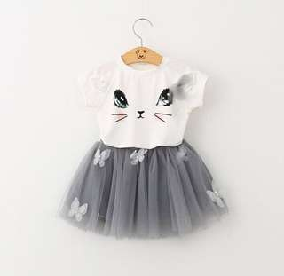Sweet Feminine Girls' Cat Dress Set