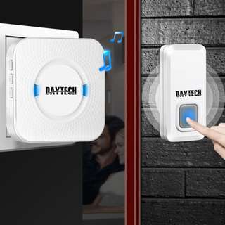 Wireless Door bell Ring Chime 1 Remote Button and 1 Plug in Receiver Waterproof Chime Kit With LED Indicator