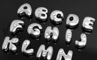 Silver-plated Alphabet Beads with 1 Crystal for Fashion