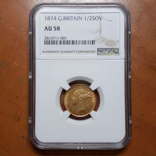 1874 Great Britain Half Sovereign NGC AU58 Solid Gold Coin