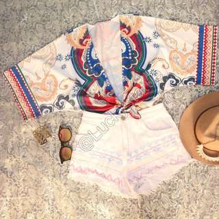 One set Beach top outfit & White jeans tribal