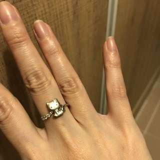 Hello kitty 18k white gold diamond ring 白金 鑽石 介子 戒子